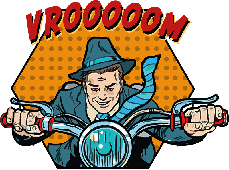 TenStickers. Sticker Moto Texture comique avec texte. Sticker mural moto représentant un motard à moto avec un texte comique. La taille est personnalisable selon ce que vous désirez.