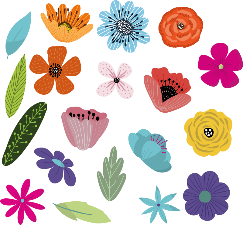 TenStickers. Flower set Bike sticker set. Full of colourful flowers bike frame sticker set that will transform your vehicle into the best one in the town. Bicycle decal for you!