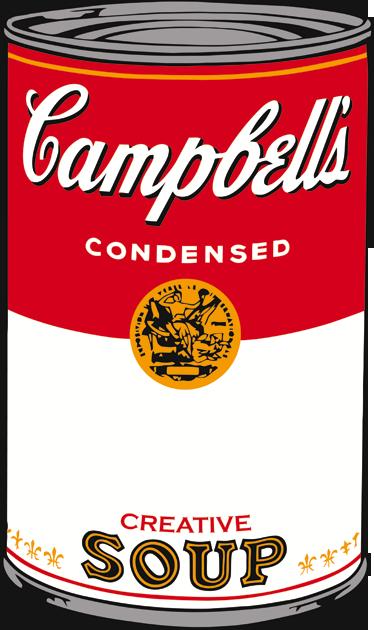 TenVinilo. Vinilo sopa Campbell Warhol. Adhesivo vintage de la lata de sopa Campbell, convertida en una obra de arte por el famoso artista Andy Warhol. Una decoración llena de color y originalidad. Vinilos retro de aire pop para decorar las paredes de tu hogar.