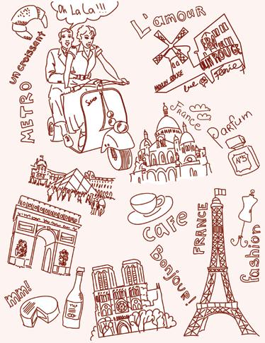 TenVinilo. Vinilo decorativo dibujos de París. Vinilos París con los que vestir tu habitación con diferentes motivos dibujados a mano de la capital de Francia.