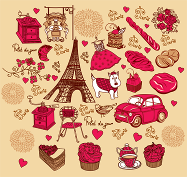 TenStickers. Paris Illustration Decal Collection. Decals-A collection of illustration drawings inspired by the French capital Paris. Various features such as the Eiffel Tower, food, fashion and more.