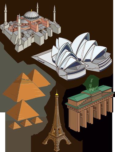 TenStickers. Sticker monuments célèbres. Dessins sur stickers faisant référence aux monuments de grandes villes : Paris, Le Caire, Sydney, Istanbul...Idée déco pour les murs de la chambre à coucher ou le salon.