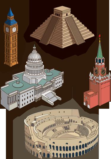 TENSTICKERS. 記念碑的な建物のデカールコレクション. デカール-世界中の有名なモニュメントに基づいたウォールステッカーのコレクション。アメリカ、イギリス、メキシコ、ロシア、イタリア。