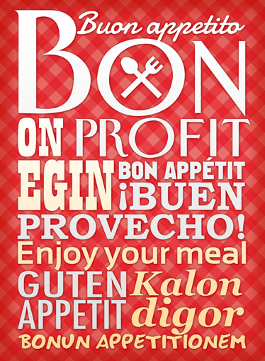TenStickers. Bon Appetit Wall Sticker. Kitchen Stickers - Enjoy your meal written in different languages. Decal designs to decorate your kitchen, cooking or dinning area.