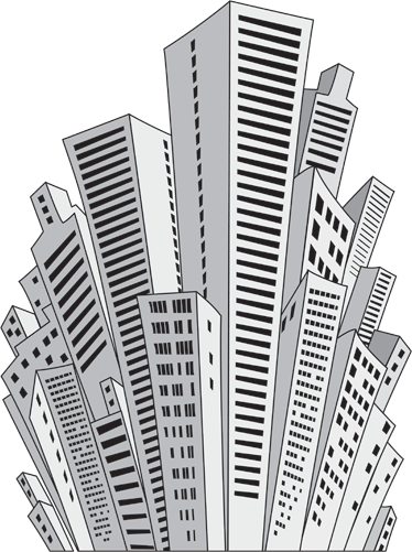 TenStickers. Urban Skyscrappers Illustration Decals. Decals - Live for the city life? Concrete jungles where dreams are made up? Distinctive feature for decorating your room. Available in various sizes.