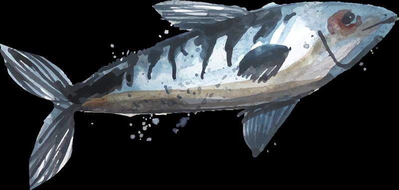 TenVinilo. Pegatina pez pescado azul abstracto. Un magnífico toque decorativo de vida marina en su casa con nuestro vinilo de peces para pared con un diseño único ¡Envío a domicilio!
