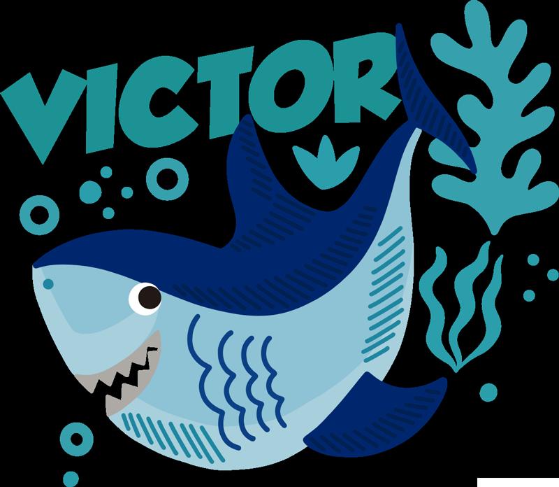 TenVinilo. Vinilo bebé animal tiburón bebé con nombre. Compre nuestro vinilo habitación bebé de tiburón feliz con nombre personalizable para decorar el cuarto de tu hijo ¡Envío a domicilio!