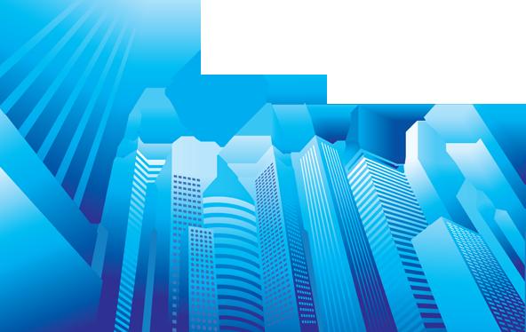TenStickers. 酷蓝色城市和飞机墙贴. 墙贴纸-大蓝色城市插图与上面的飞机飞行。为任何房间增添都市气息的理想之选。