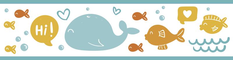 TenVinilo. Cenefa adhesiva infantil océano colorido y feliz. Cenefa adhesiva infantil con varios peces marinos y diseño especial. Tamaño personalizable y fácil de aplicar ¡Envío a domicilio!