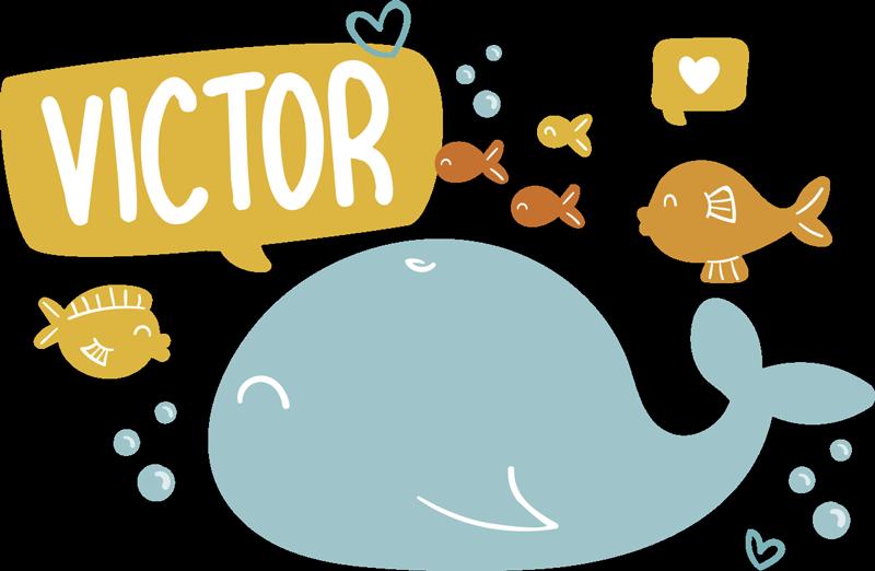 TENSTICKERS. カラフルで幸せな海の動物デカール. 子供の寝室のスペースのための装飾的で幸せな海の動物の壁のステッカー。任意の名前でカスタマイズできます。簡単に適用できます。