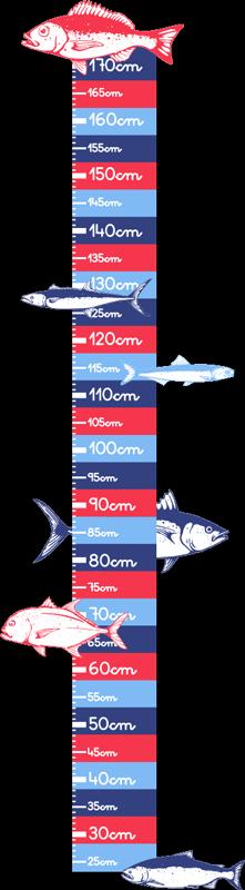 TenStickers. Dieren stickers Hand tekenen vissen (sizer). Decoratieve vissen groeimeter muursticker met daarop zeevissen gedrukt gekalibreerde meerkleurige horizontale eenheden. Het is gemakkelijk aan te brengen.