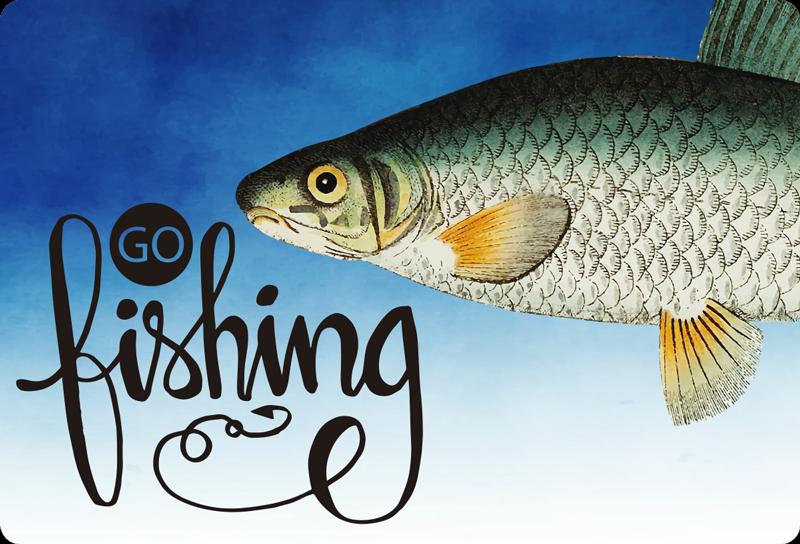 TENSTICKERS. ビンバコイラップトップスキン. あなたは釣りが好きですか?はいの場合は、装飾用のビンバコイの魚のラップトップのステッカーを使用して、「釣りに行く」というテキストを書きます。
