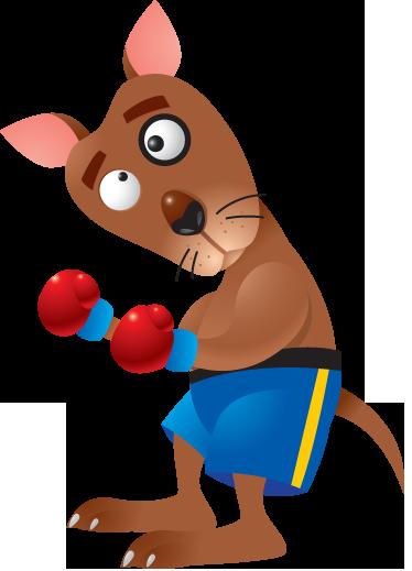 TENSTICKERS. キッズボクシングカンガルーウォールステッカー. キッズウォールステッカー-ボクシングカンガルーの遊び心のあるイラスト。子供のための装飾エリアに最適なカラフルなデザイン。さまざまなサイズで利用できます。