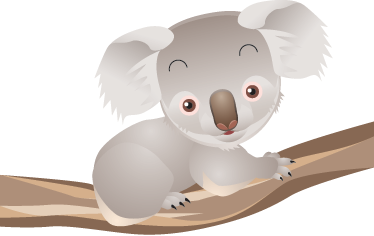 TenStickers. Koala on Branch Kids Decal. An animal wall sticker dedicated to the small Australian marsupial. A cute koala decal to complete the children's bedroom decor. If your children love animals then this cute and friendly koala is the perfect choice to surprise them.