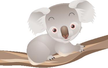 Vinilo Infantil Koala En Arbol Tenvinilo