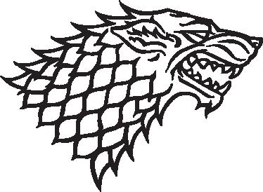 TenStickers. Sticker Tv Serie logo House Stark. Muursticker met het logo van House Stark, uit Game of Thrones. Wanddecoratie voor de fans van deze TV-serie van het Amerikaans televisiekanaal HBO.