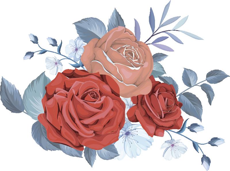 TENSTICKERS. 青い花束の花の花の壁のステッカー. マルチカラーのブーケフラワーデザインのウォールアートステッカー。適用が簡単で、高品質のビニールで作られています。