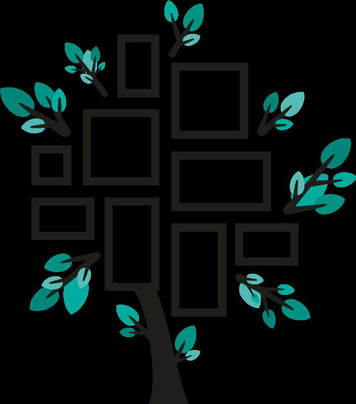TENSTICKERS. 家系壁デカール. 写真を配置するためのさまざまな正方形デザインの装飾的な木壁アートステッカー。家族のアルバムに最適なウォールアート。適用は簡単です。