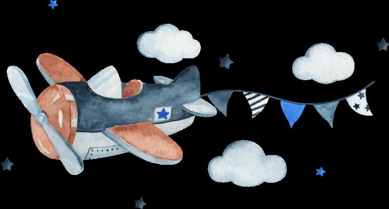 TenStickers. Reise Aufkleber Flugzeug und Wolken. Ein illustratives Kinder Wandtattoo mit dem Entwurf eines Flugzeugs, Wolken und Sternen. Es ist einfach aufzutragen und aus hochwertigem Vinyl hergestellt.