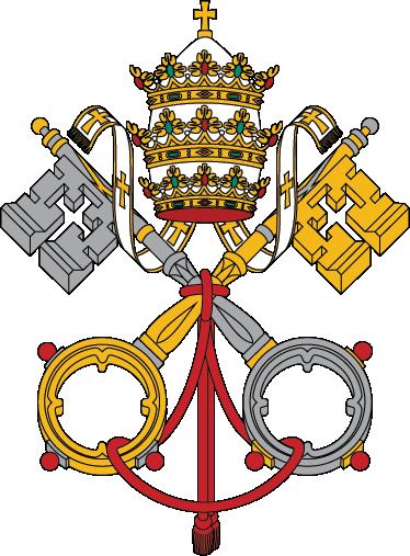 TenStickers. Sticker decorativo stemma Vaticano. Se sei un fervente cattolico e se sei solito visitare Roma e passeggiare per Piazza San Pietro non perderti questo adesivo con l'emblema dello stato più piccolo del mondo.