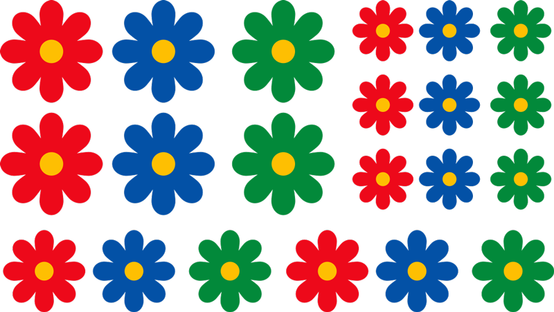 TENSTICKERS. カラフルな個々の花の自転車デカール. 色とりどりの花のプリントが付いた自転車フレームステッカー。この素敵なデザインは、選択した方法と順序で自転車に配置できます。