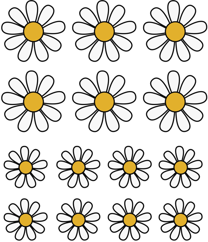 TenStickers. Daisies bike flowers Bike Decal. Bike frame decal with the design of daisies flowers. This amazing decoration is a perfect idea for any bike space especially for teenagers and kids.