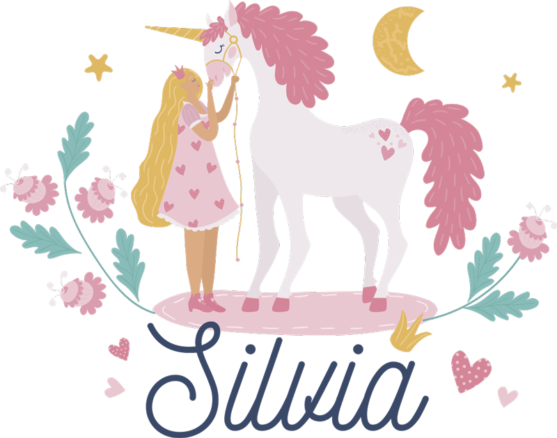 TenStickers. Fairy tale unicorns fairy tale wall decal. Personalize a name on our beautiful fairy unicorn kids wall sticker to decorate the bedroom space of your child. It is available in any required size.