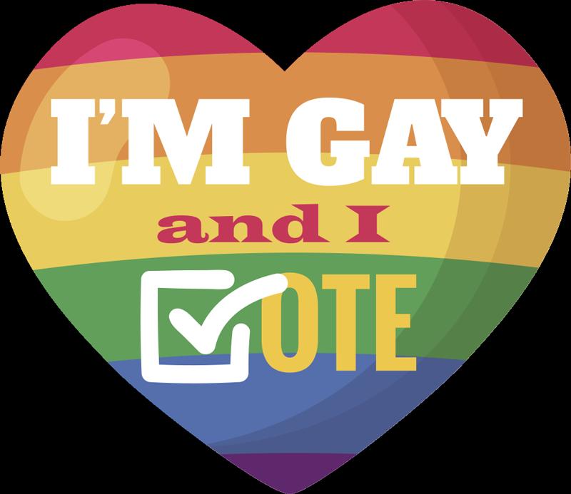TENSTICKERS. レインボー投票のゲイカーデカール. 同性愛者のプライドと投票権で車両スペースを装飾するための車のビニールデカール。ハートと文字でデザインされています。