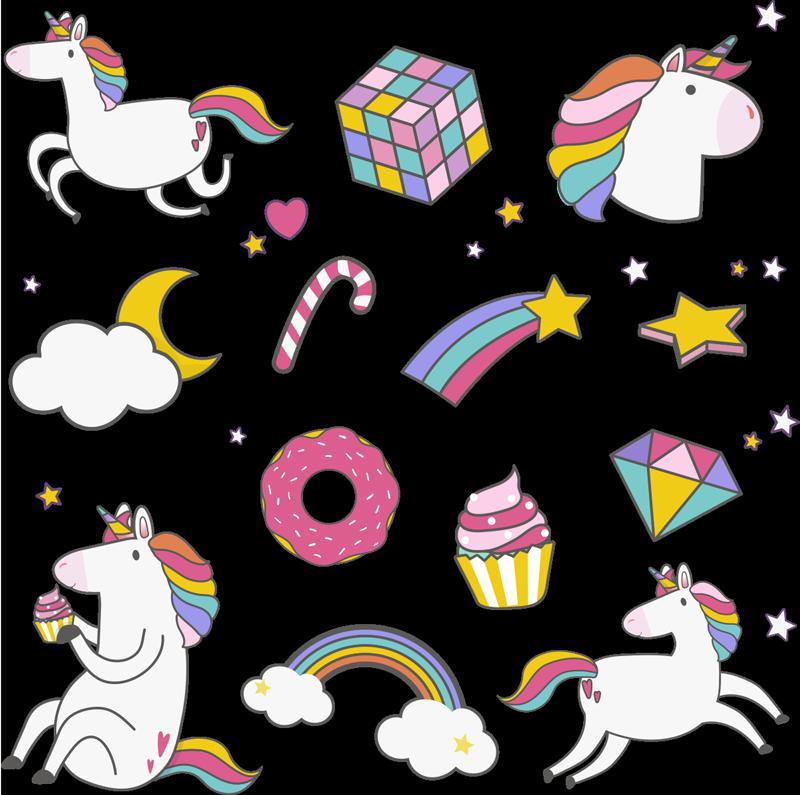 TenVinilo. Vinilos pared infantiles set de unicornios y arcoiris. Un conjunto de vinilos pared infantiles de unicornios y arco iris para decorar el dormitorio de los niños. Perfecto para crear alegría ¡Envío a domicilio!