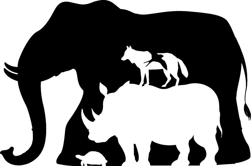 TenVinilo. Vinilo de animales salvajes creados con formas. Vinilo de animales salvajes creados con formas en el que vemos un elefante, rinoceronte, entre otros. Alta calidad ¡Envío a domicilio!