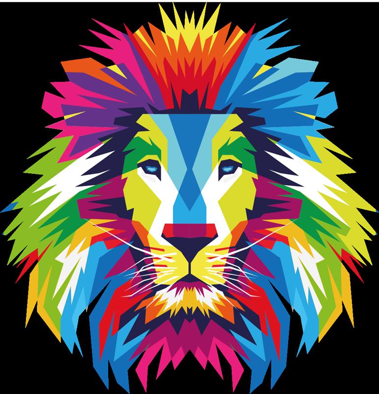 TenVinilo. Vinilo animales selva cabeza león multicolor. Vinilo animales selva de una cabeza de león multicolor. Producto de alta calidad disponible en cualquier tamaño ¡Envío a domicilio!