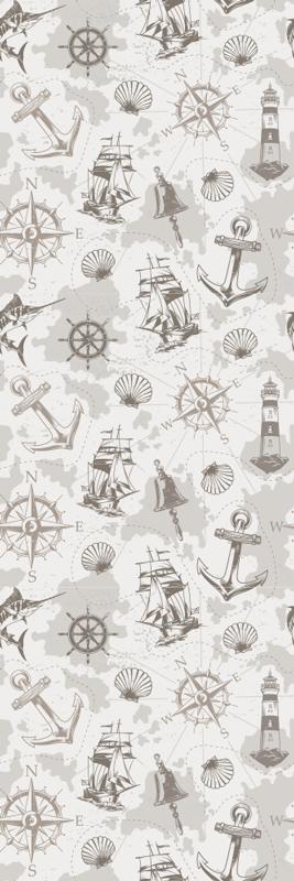 TENSTICKERS. 船乗り灯台とコンパスの家具ステッカー. さまざまな航海要素のデザインが施された装飾的な家具デカール。それは高品質で作られ、サイズはあなたのニーズを満たすためにカスタマイズ可能です。