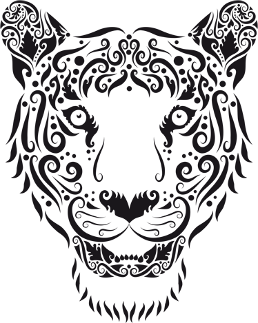 TenVinilo. Vinilo decorativo tigre abstracto. Adhesivo tigre con la cara de una temible fiera con mirada penetrante para la decoración de las paredes de tu hogar.