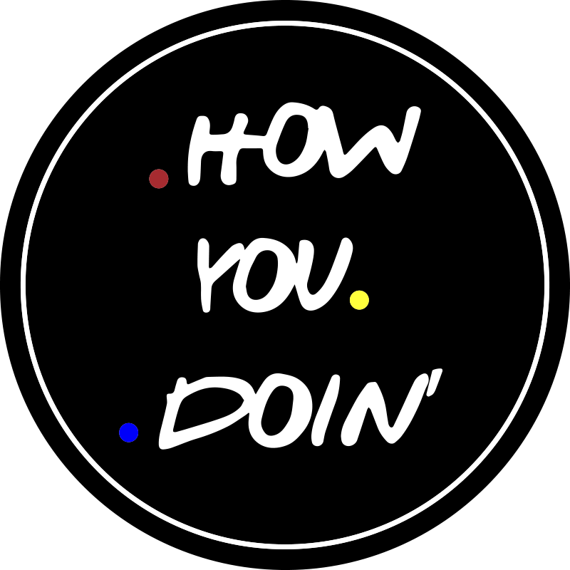 TenStickers. How You Doin' laptop skin decal. Our easy to apply and self adhesive decorative laptop vinyl decal created on a round dark background with the text ''how you doin''