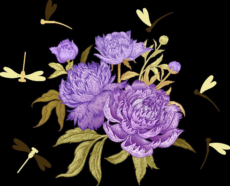 TenVinilo. Vinilo de flores peonías lilas y libélulas. Un increíble vinilo de flores para dormitorios con libélulas y flores en lila. Está disponible en cualquier tamaño ¡Envío a domicilio!