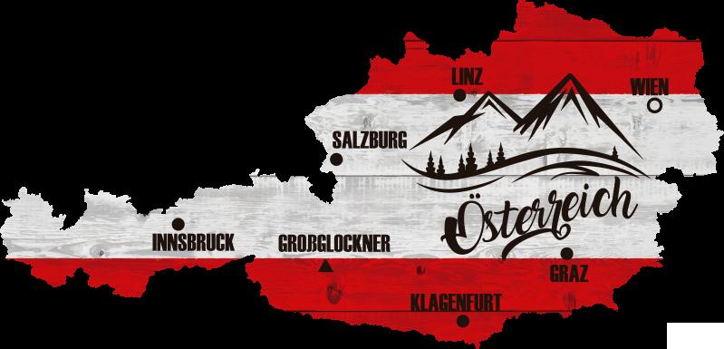 TenStickers. Wandtattoo Österreich Karte. Dekoratives Österreich Karte Wandtattoo mit Merkmalen von Berg- und Ortsnamen. Es ist einfach anzuwenden und in jeder gewünschten Größe erhältlich.