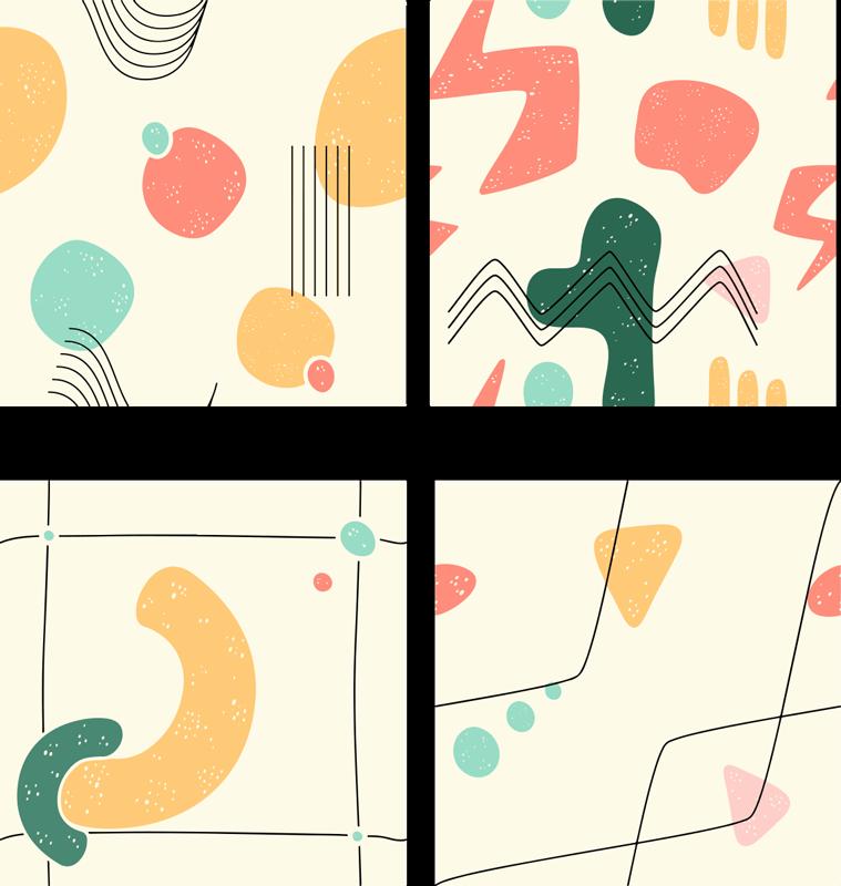 TenStickers. Stickers tegels Abstract verschillende figuren . Creëer een originele abstracte uiterlijk op uw keukenruimte met onze hoogwaardige vinyl decoratieve figuren tegelsticker. Het is gemakkelijk aan te brengen.