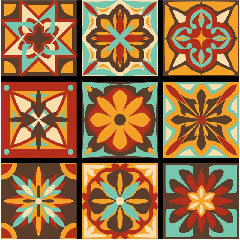 TenStickers. Autocolantes azulejos decorativos De volta aos anos 70. Vamos levá-lo de volta aos anos 70 com nosso vinil autocolante decorativo de azulejo decorativo clássico original para cozinha, feito de vinil de alta qualidade. é fácil de aplicar.