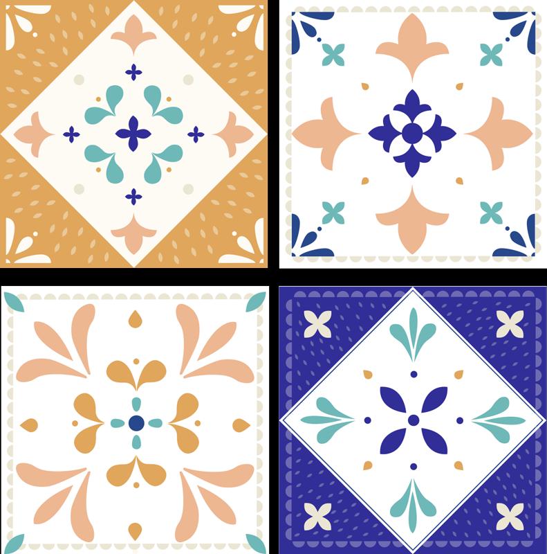 TenVinilo. Azulejos vinílicos paleta clásica. Azulejos vinílicos tono paleta con diferentes diseños para la cocina o el baño. Fácil de instalar y disponible en packs ¡Envío a domicilio!
