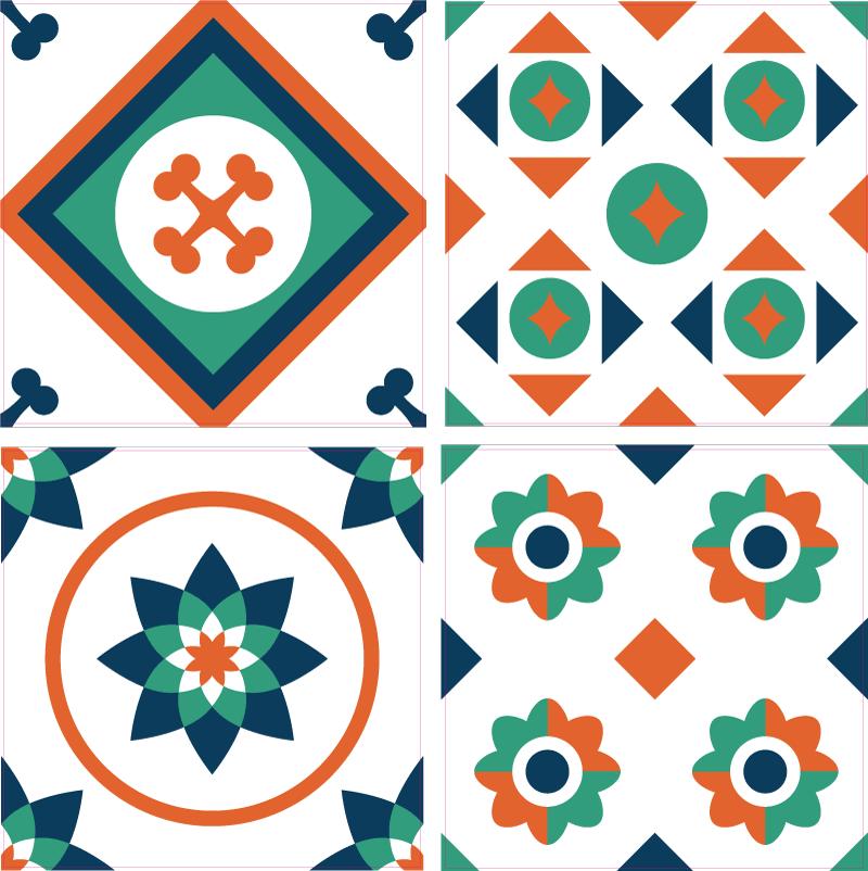 TenStickers. Autocolantes azulejos decorativos Vibrações geométricas. à procura de aquele toque divertido de vibrações para decorar um espaço de casa de banhoem uma casa? Nosso vinil autocolante decorativo de azulejos geométricos multicoloridos serviria a esse propósito.