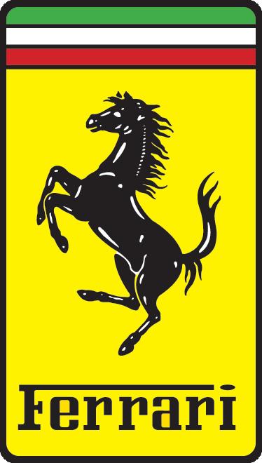 TenStickers. Sticker van Ferrari. Een prachtige logo sticker van de beroemde Italiaanse sportwagen merk met een zwart paard op een gele achtergrond.