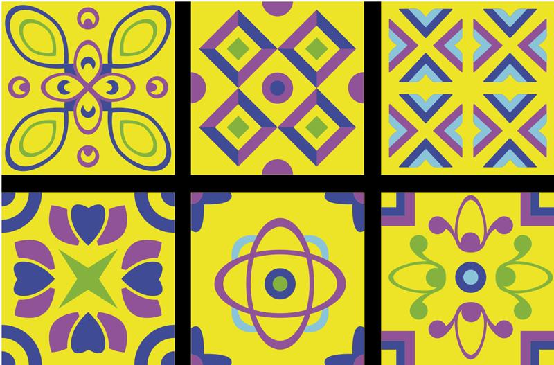 TenStickers. Autocolantes azulejos decorativos Simetrias psicodélicas. autocolante de telha de simetrias psicodélicas para decoração de cozinha. é impermeável, fácil de aplicar e fabricado em vinil de alta qualidade.