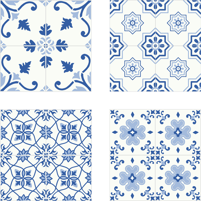 TenStickers. Vintage blue tile transfer decal. Buy our original vintage  blue floral patteren tile decal for your kitchen. It is waterproof and easy to apply. It comes in any size required.