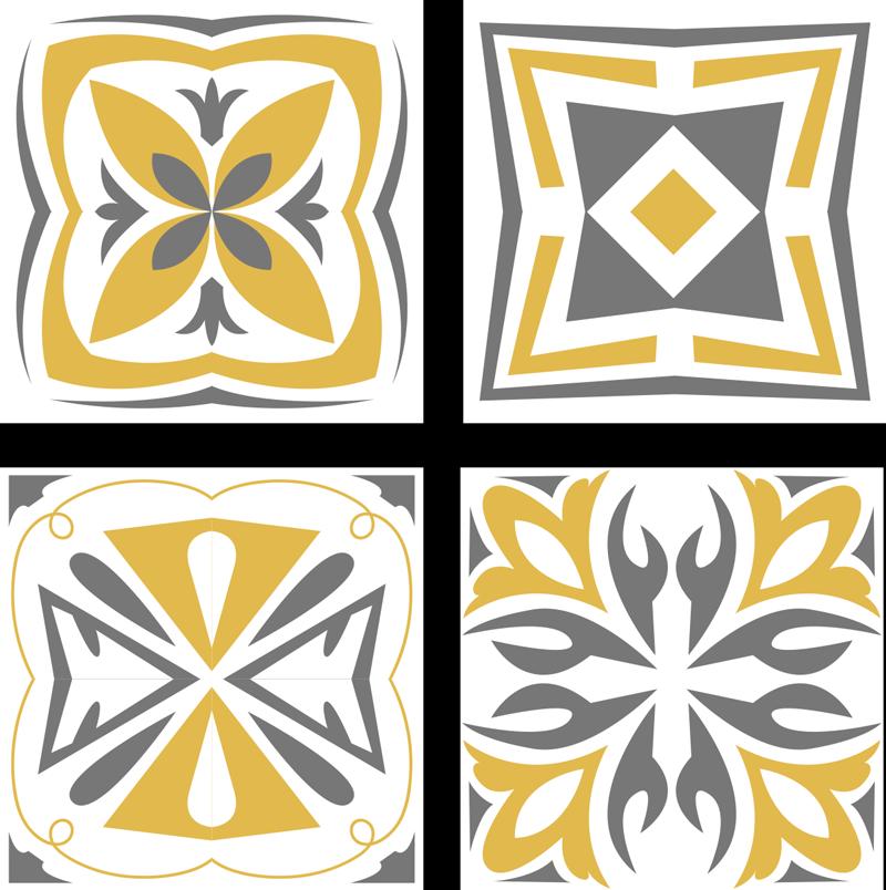 TENSTICKERS. 黄色と灰色のタイル転写デカール. 黄色と灰色の装飾パターンでデザインされた装飾タイルステッカー。それは防水性、耐久性があり、表面に適用するのは簡単です。