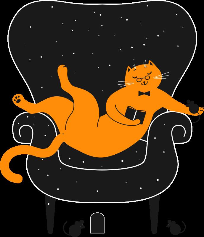 TenVinilo. Pegatina animales gato sentado leyendo. Vinilo pared salón de animales con gato sentado en una silla leyendo y ratones a su alrededor que crean una escena divertida ¡Envío a domicilio!