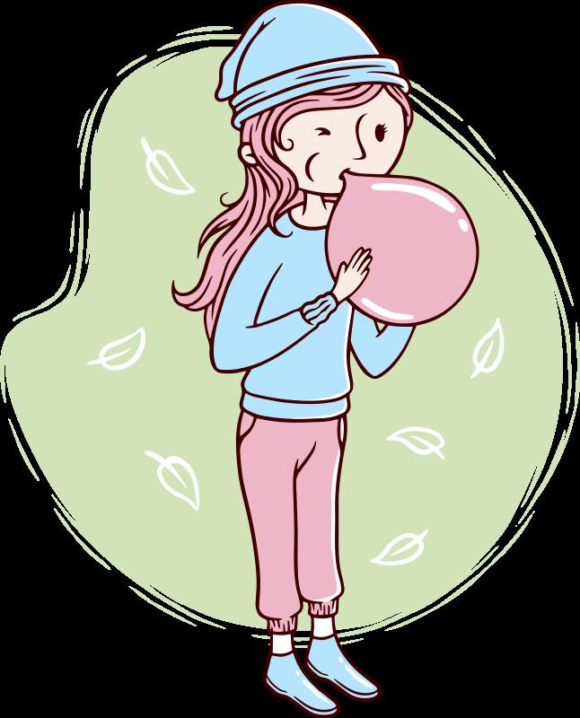 TENSTICKERS. かわいい女性が風船を吹いて壁デカール. 風船を吹く子供の装飾的な壁のアートステッカーデザインは、ニーズに合わせてカスタマイズできます。それはあなたが欲しい任意のサイズで利用できます。