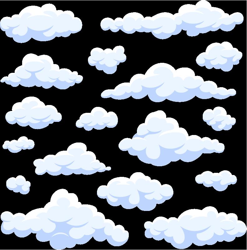 TENSTICKERS. 現実的な雲の子供の寝室の壁のステッカー. 子供のデザインをリアルに再現した雲のデザインで子供たちの空間を装飾するためのウォールアートステッカーの例。簡単に適用できます。