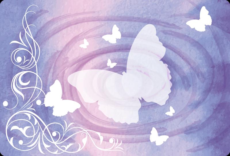TenStickers. Stickers voor laptop Vlinder met heldere vlieg. Witte vlinders laptop sticker decoratie met speciaal effect kleurrijke achtergrond voor een laptop. Het is verkrijgbaar in elke gewenste maat.