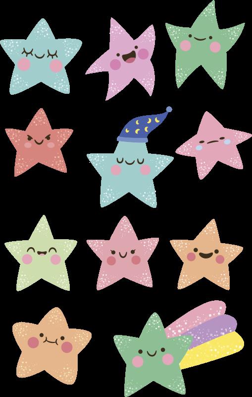 TENSTICKERS. キッズスペースウォールデカール用の緑とピンクの星. 子供たちの寝室を飾るために幸せな絵文字顔を持つさまざまな色の星のかわいいコレクション。どのサイズでもご利用いただけます。