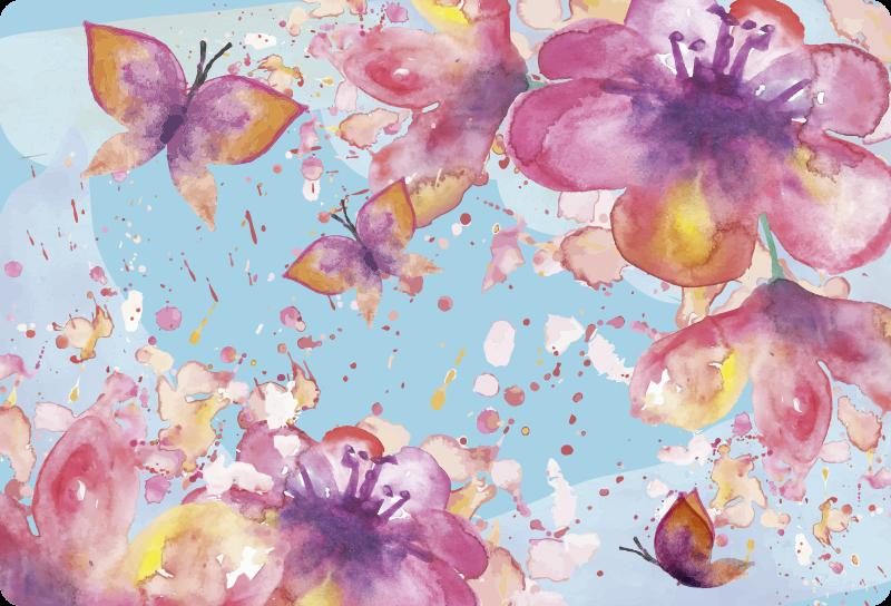 TenVinilo. Vinilo para portátiles mariposa lila en fondo azul. Vinilo para portátiles y vinilo macbook de mariposas coloridas sobre fondo azul disponible en cualquier tamaño ¡Envío a domicilio!